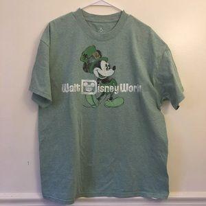 Walt Disney Mickey Mouse w shamrock Hat TShirt